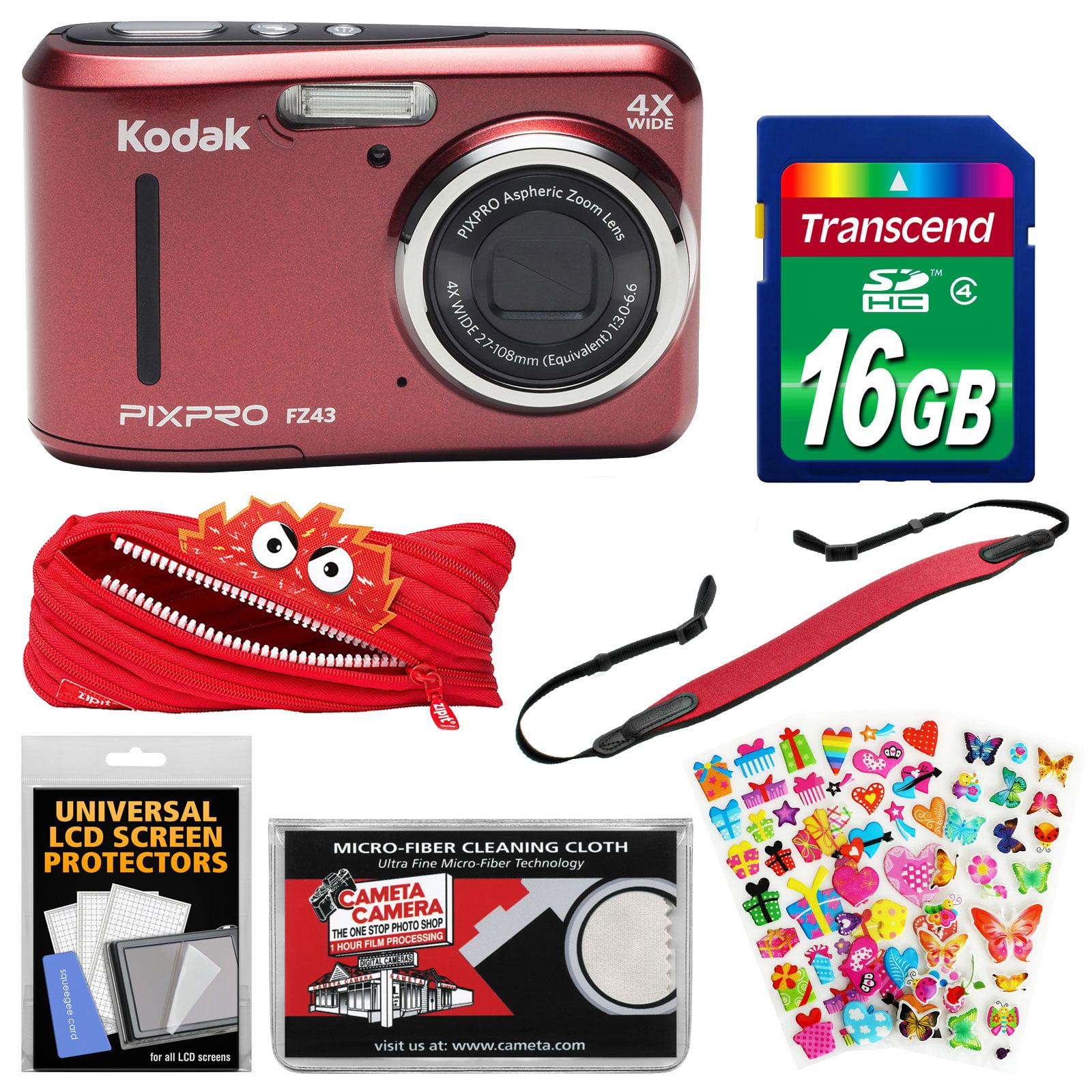 KODAK PIXPRO Friendly Zoom FZ43 Digital Camera (Red) with 16GB Card + Monstar Case + Strap + Puffy Stickers + Kit