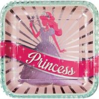 1PK Princess Party Foil 9-Inch Deep Dish Plates ,Size: 9""