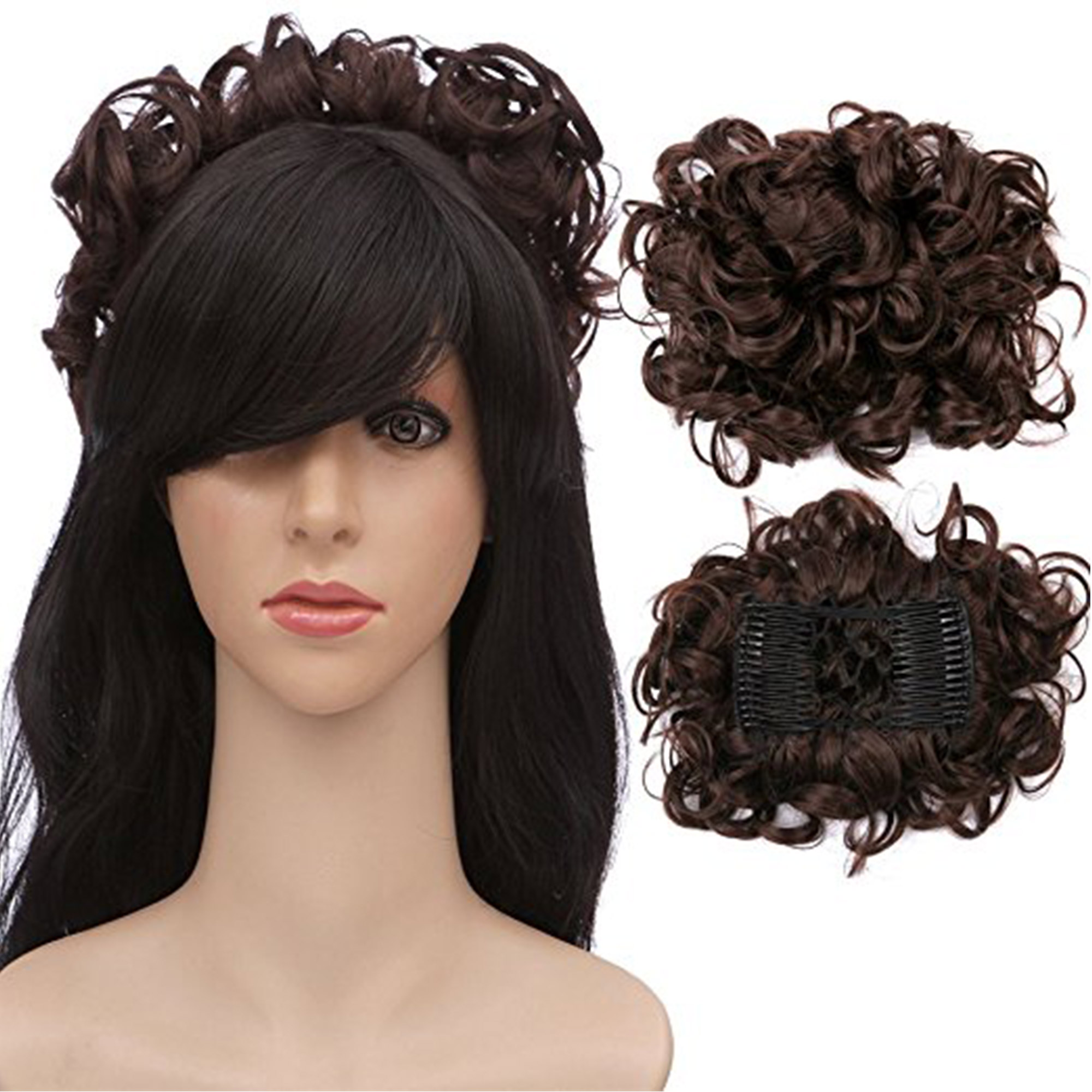 FLORATA Short Messy Curly Dish Hair Bun extension Easy Stretch Hair Combs Clip In Ponytail extension Scrunchie chignon Tray Ponytail