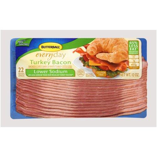 Butterball Everyday Lower Sodium Turkey Bacon, 12 oz