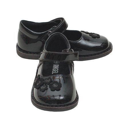 Black Patent Mary Jane Shoes - Black Patent Floral Mary Jane Fall Shoes Baby Girls 4-Little Girls 12