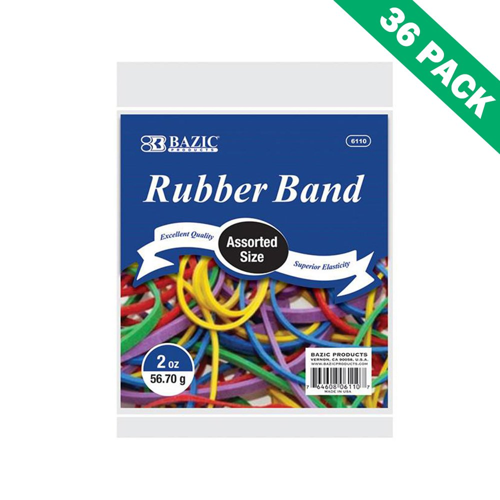 Assorted Rubber Bands, Bazic Rubber Band Variety Pack Mixed Sizes (36 Units)