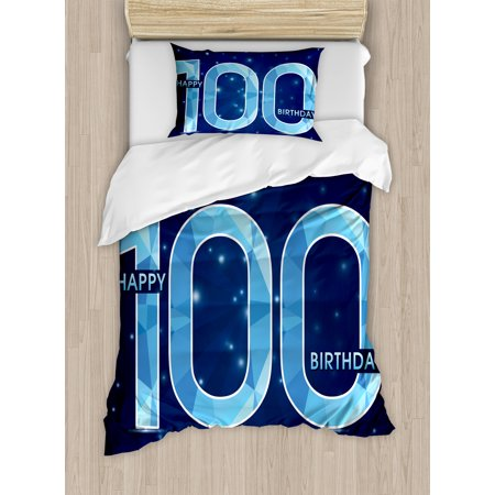 100Th Birthday Decorations Twin Size Duvet Cover Set  Happy Birthday Old Grandparents Century Party Image  Decorative 2 Piece Bedding Set With 1 Pillow Sham  Sky Blue And Navy Blue  By Ambesonne