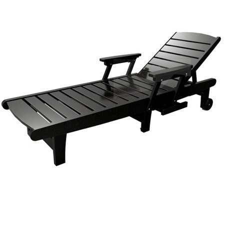 Chaise lounge by malibu outdoor delray black for Black chaise lounge outdoor