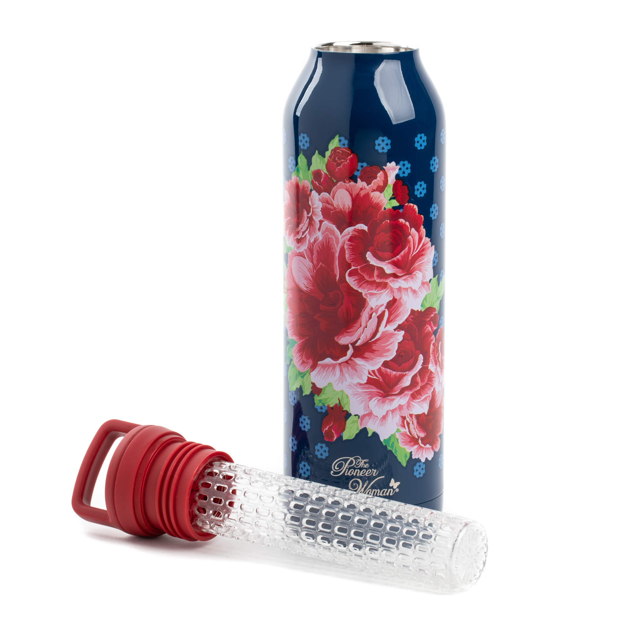 The Pioneer Woman 18 Ounce Immerse Frost Frontier Rose Infuser Water Bottle