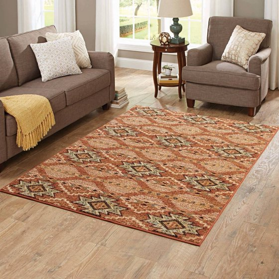 better homes and gardens terracotta southwestern area rug 87751