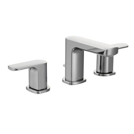 Faucet Widespread Double Handle - Moen T6920 Rizon Double Handle Widespread Bathroom Faucet, Chrome