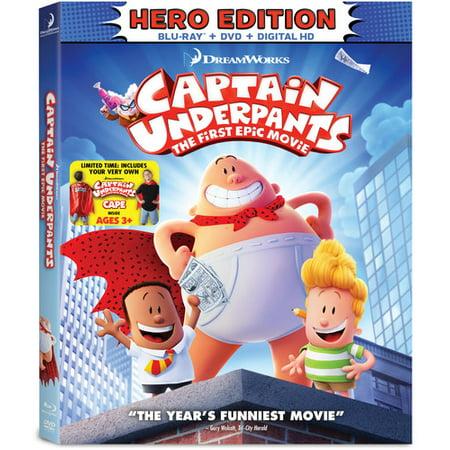 Captain Underpants  The First Epic Movie  Hero Edition   Blu Ray   Dvd   Digital Hd   Bonus Cape