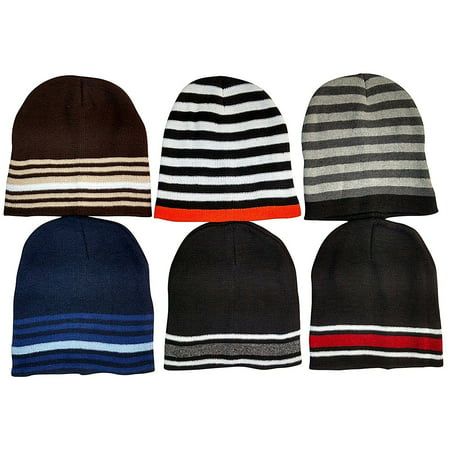 6 Pack Of excell Mens Thermal Sport Striped Winter Beanie Hat - Mets Winter Hat