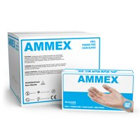 AMMEX Vinyl Latex Free Medical Disposable Gloves, Large, Clear, 1000/Case