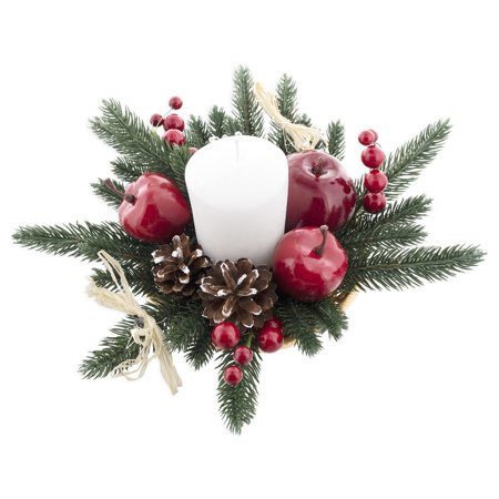 Scandinavian Straw Ornaments (Christmas Candle Holder Centerpiece with Straw Bows, Apples & Pine Cones 16 Inches)