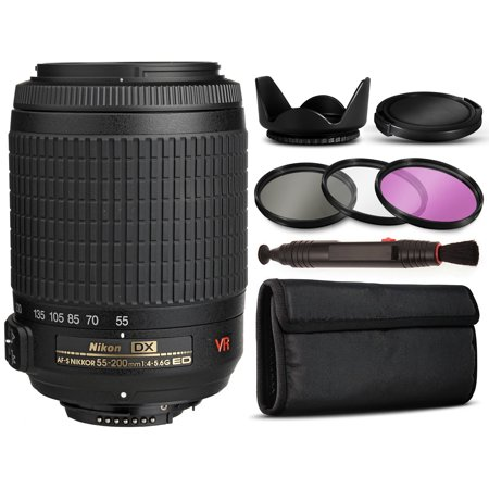 Basic Accessory Package - Nikon AF-S DX VR Zoom-NIKKOR 55-200mm f/4-5.6G IF-ED Lens 2166 with Basic Accessories Bundle Package includes 3 Piece Filter Kit (UV-CPL-FLD) + Flower Tulip Hood + $50 Gift Card for Prints