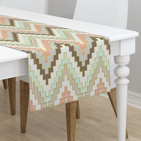 table runner chevron aztec tribal gold arrows teen mint and coral cotton sateen. Black Bedroom Furniture Sets. Home Design Ideas