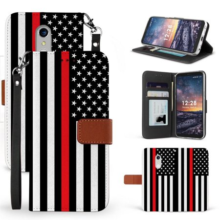 BC Infolio-D Series Compatible with LG Stylo 5 Wallet PU Leather Case and Atom Cloth - Thin Red Line USA Flag