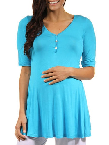 Women's Henley Neck Maternity Tunic