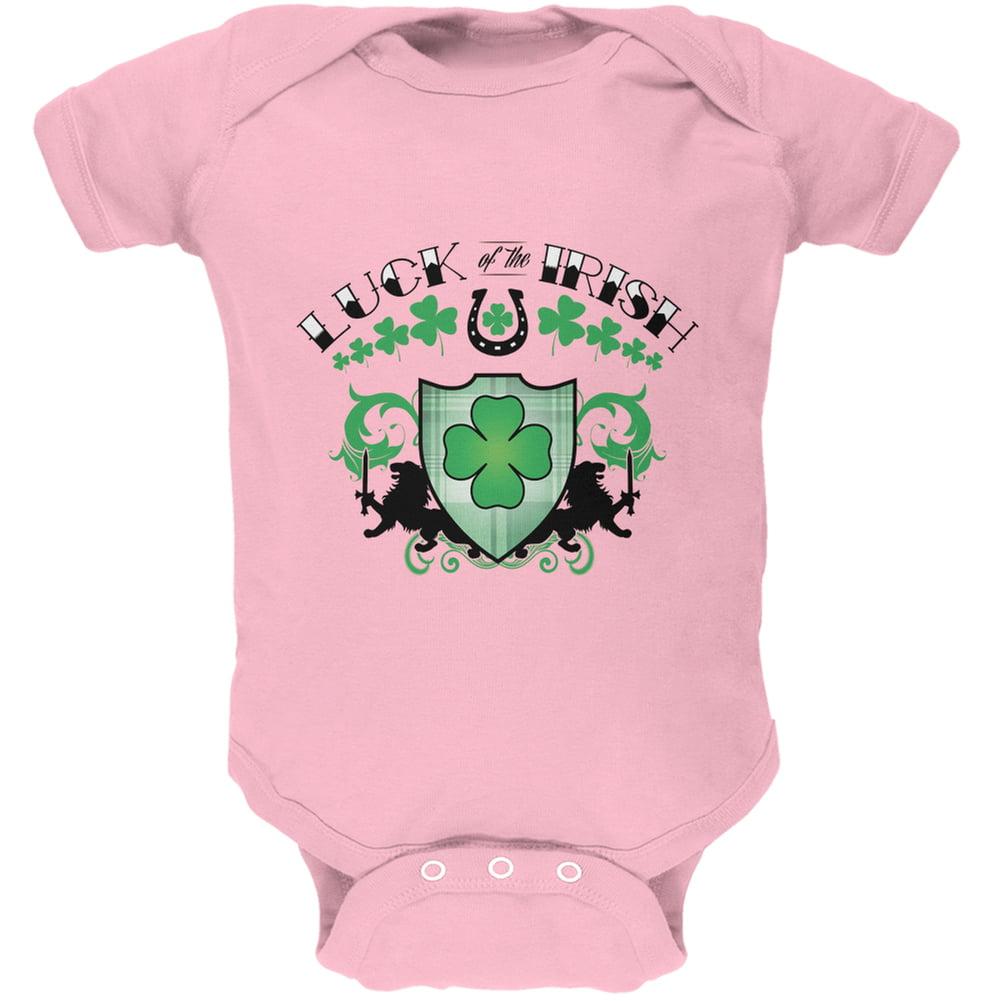 St. Patricks Day - Luck Of The Irish Light Pink Soft Baby One Piece