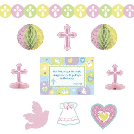 Amscan Sweet Christening Pink Deocating Kit](Christening Decorations)