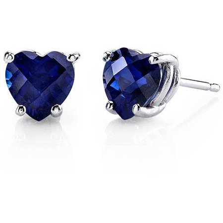 2.50 Carat T.G.W. Heart-Cut Created Blue Sapphire 14kt White Gold Stud Earrings