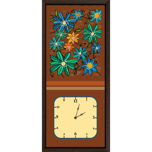 Green Leaf Art Floral Arrangements II Art Clock