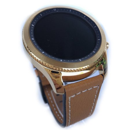 24K GOLD Plated Gear S3 Classic Brown Leather