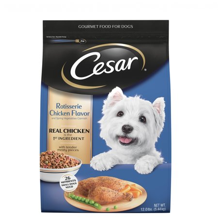 Cesar Small Breed Dry Dog Food Rotisserie Chicken Flavor with Spring Vegetables Garnish, 12 lb.