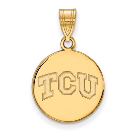 Solid 925 Sterling Silver with Gold-Toned Texas Christian University Medium Disc Pendant (15mm x 24mm)