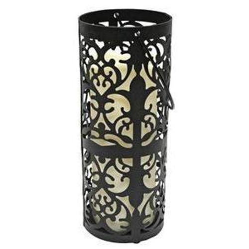 "9.5"" Black Metal Flourish Lantern with Bisque LED Lighted Flameless Indoor/Outdoor Pillar Candle"
