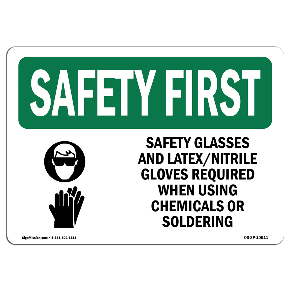 OSHA SAFETY FIRST Sign - Safety Glasses And Latex Nitrile With Symbol | Choose from: Aluminum, Rigid Plastic or Vinyl Label Decal | Protect Your Business, Work Site, Warehouse | Made in the USA
