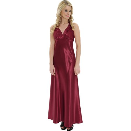Elegant Red Satin Charmeuse Dress Nightgown V Neck Halter Gown