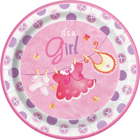 Clothesline Baby Shower Plates, 9 in, Pink, - Baby Shower Plates