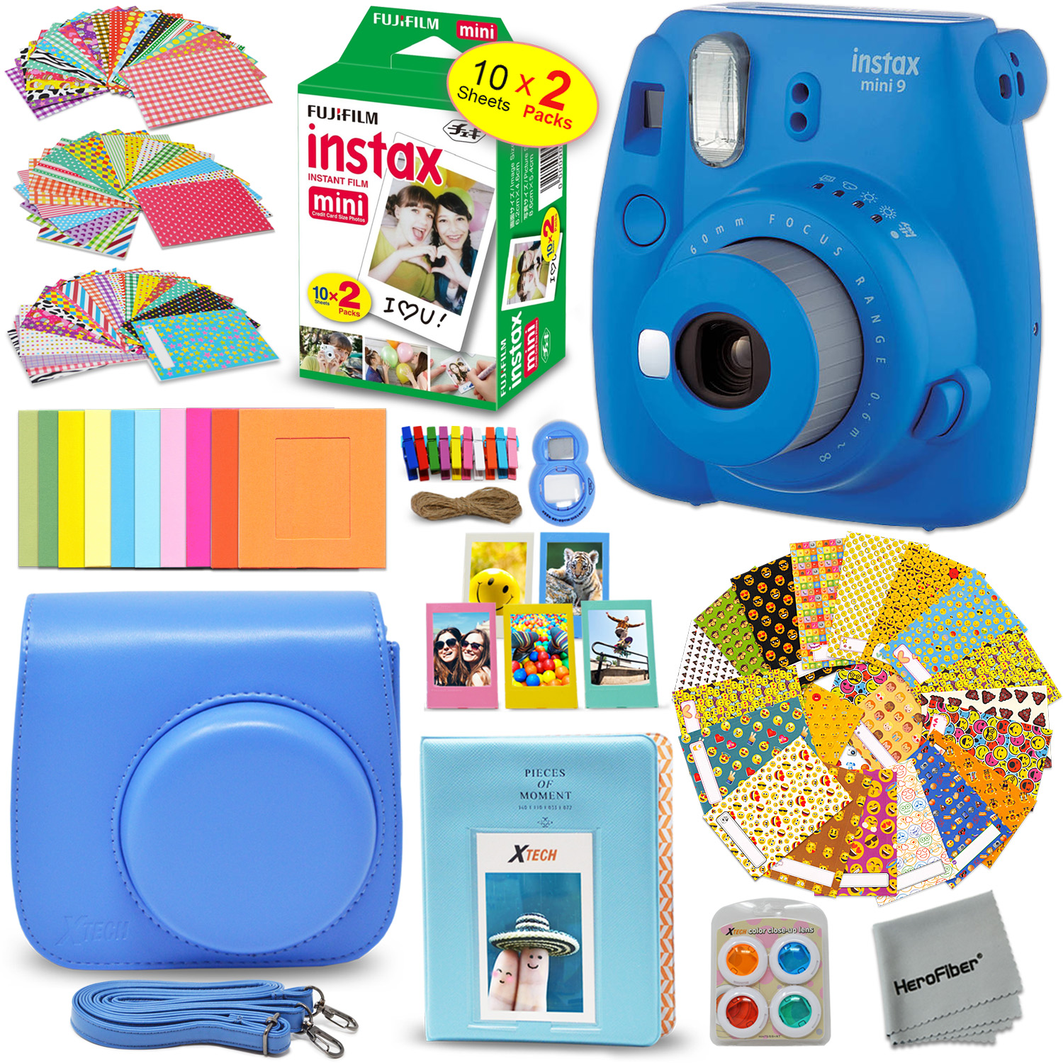 FujiFilm Instax Mini 9 Instant Camera SMOKEY WHITE + EMOJI Film stickers + Fuji INSTAX Film (20 Sheets) + Custom Fitted Case + Instax Album + Colorful Stickers + Fun Frames + 4 Colored Filters + MORE