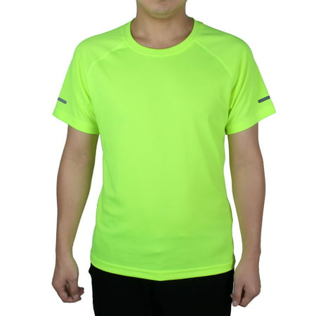 Adult Polyester Round Neck Short Sleeve Tee,Clothes Reflective Stretchy Basketball Soccer Sports (2010 Soccer T-shirt)