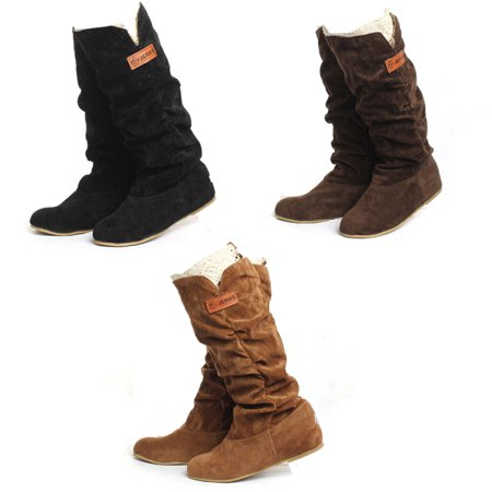 New Fashion Autumn Winter Womens Boots Lace Cuff Woolen Shoes