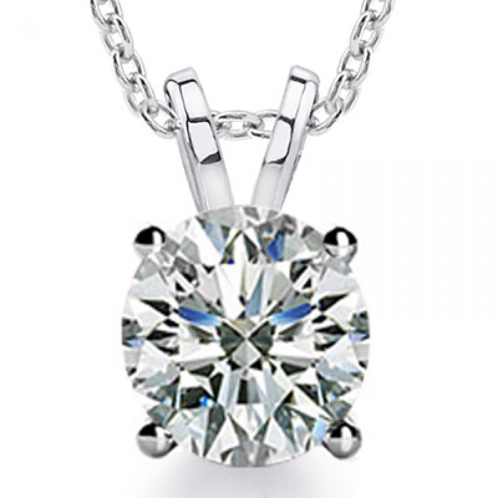 0.80 Ct Ladies Round Cut Diamond Solitaire Pendant Necklace