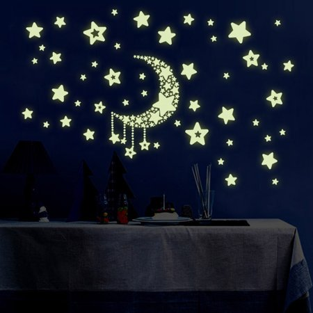 DIY Night Light Glow In The Dark Moon Stars Wall Stickers Home Decor Decals Kids Bedroom Flourescent Wall Stickers On Clearance (Rabbit Glow In The Dark)
