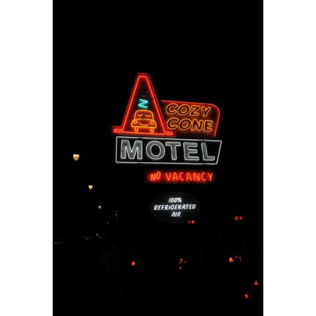 Canvas Print Street Neon Racers Sign Disneyland Cozy Cone Stretched Canvas 10 X 14 (Street Cones)