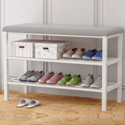 Modern Practical Home Two-Tier Shoe Bench Shoe Rack/ Storage Racks/Upholstered Benches with Two Metal Racks and Fabric Floral Design Seat Cushion