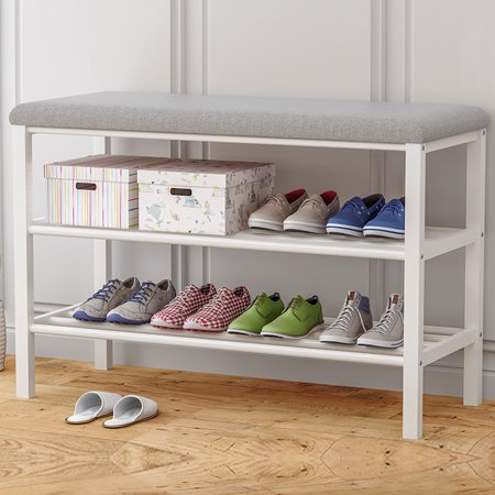Modern Practical Home Two-Tier Shoe Bench Shoe Rack/ Storage Racks/Upholstered Benches with Two Metal Racks and Fabric Floral Design Seat Cushion Metal Modern Bench