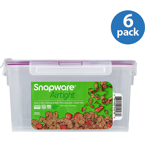 Snapware Airtight Plastic 10.8-Cup Fliptop Food Storage Container, 6-Pack