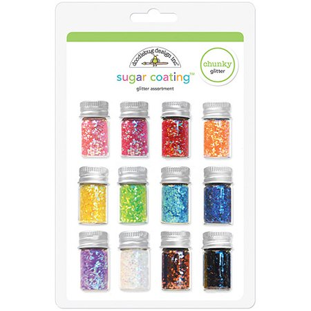 Doodlebug Sugar Coating Chunky Glitter Assortment, 12/pkg
