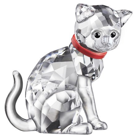 (Swarovski Clear Crystal Figurine CAT MOTHER Red Collar #5268835)