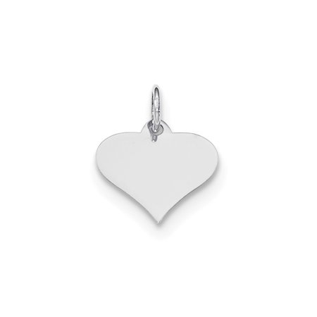 Engravable Heart Disc (14K White Gold Plain 0.018 Gauge Engravable Heart Disc Charm Pendant )