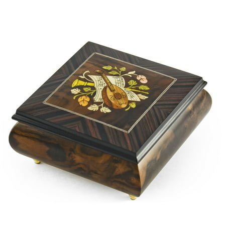 Hand-made 18 Note Italian Jewelry Box with Mandolin Wood Inlay - .0 Sole Mio - SWISS