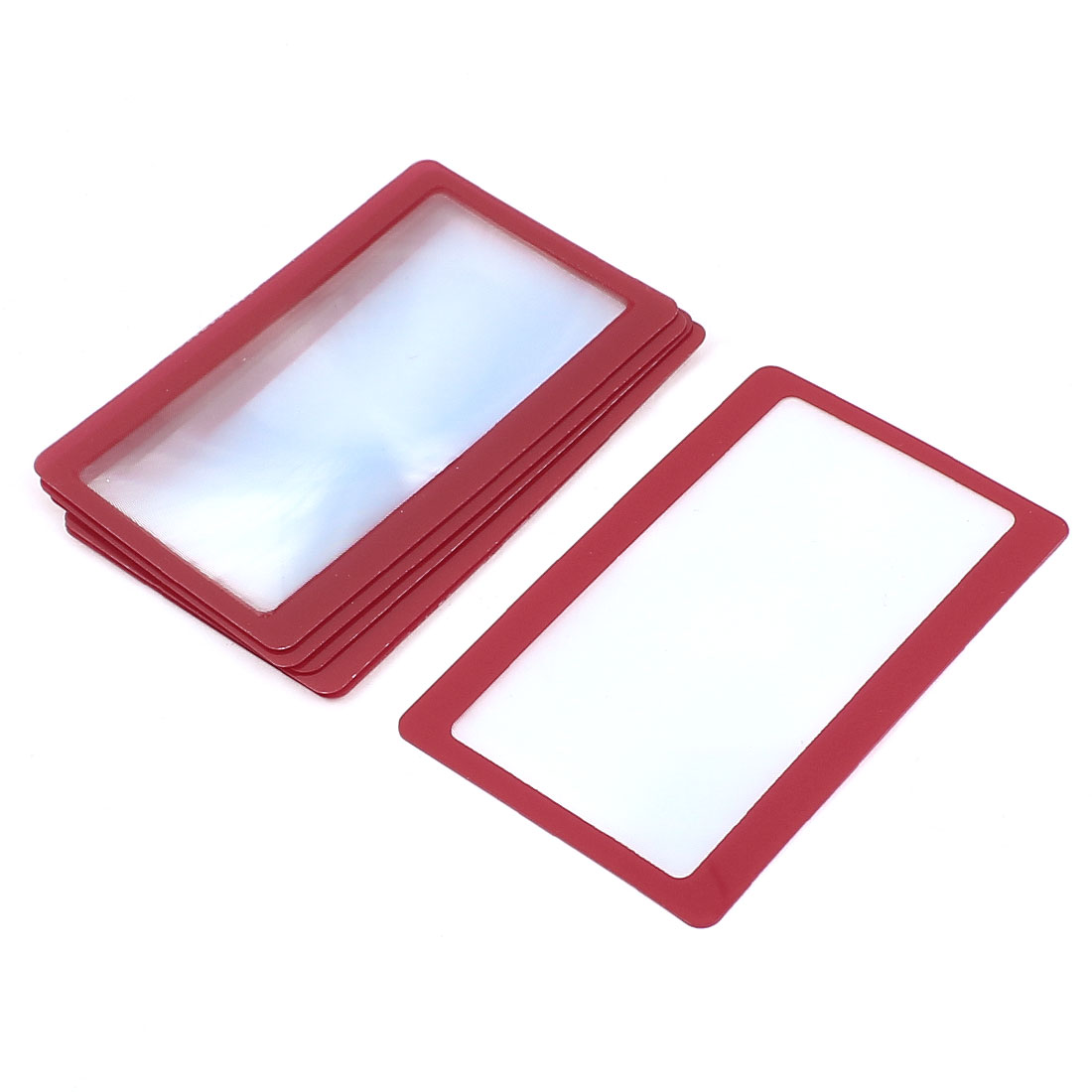 6 Pieces Red Frame Credit Card Reading Magnifier 3x Magnifying Wallet Loupe Lens