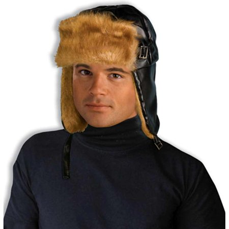 Deluxe Adult Fur Trimmed WW2 Costume Aviator Helmet Hat for $<!---->