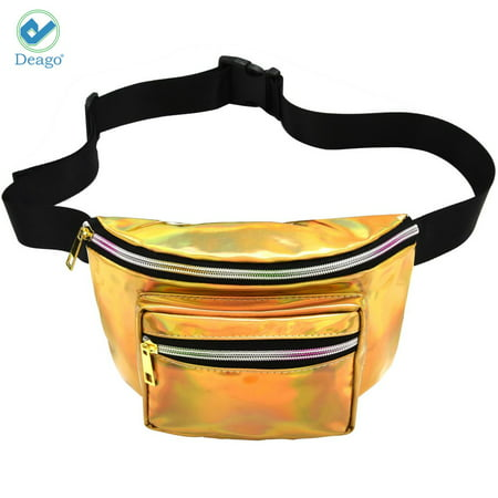 Deago Holographic Fanny Pack for Women - Waist Fanny Pack Bag with Adjustable Belt for Rave, Shopping, Festival, Travel, Party (Gold)