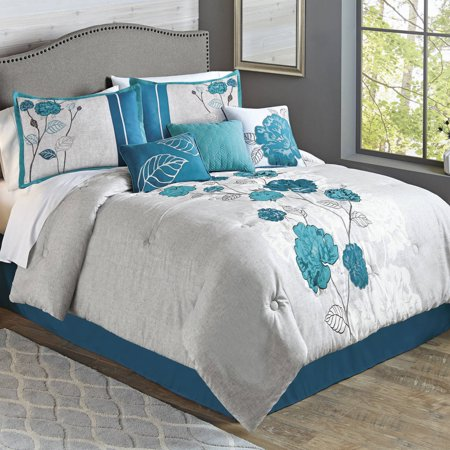 Better Homes & Gardens Full or Queen Blooming Roses Teal Comforter Set, 7 (Full Bloom Collection)