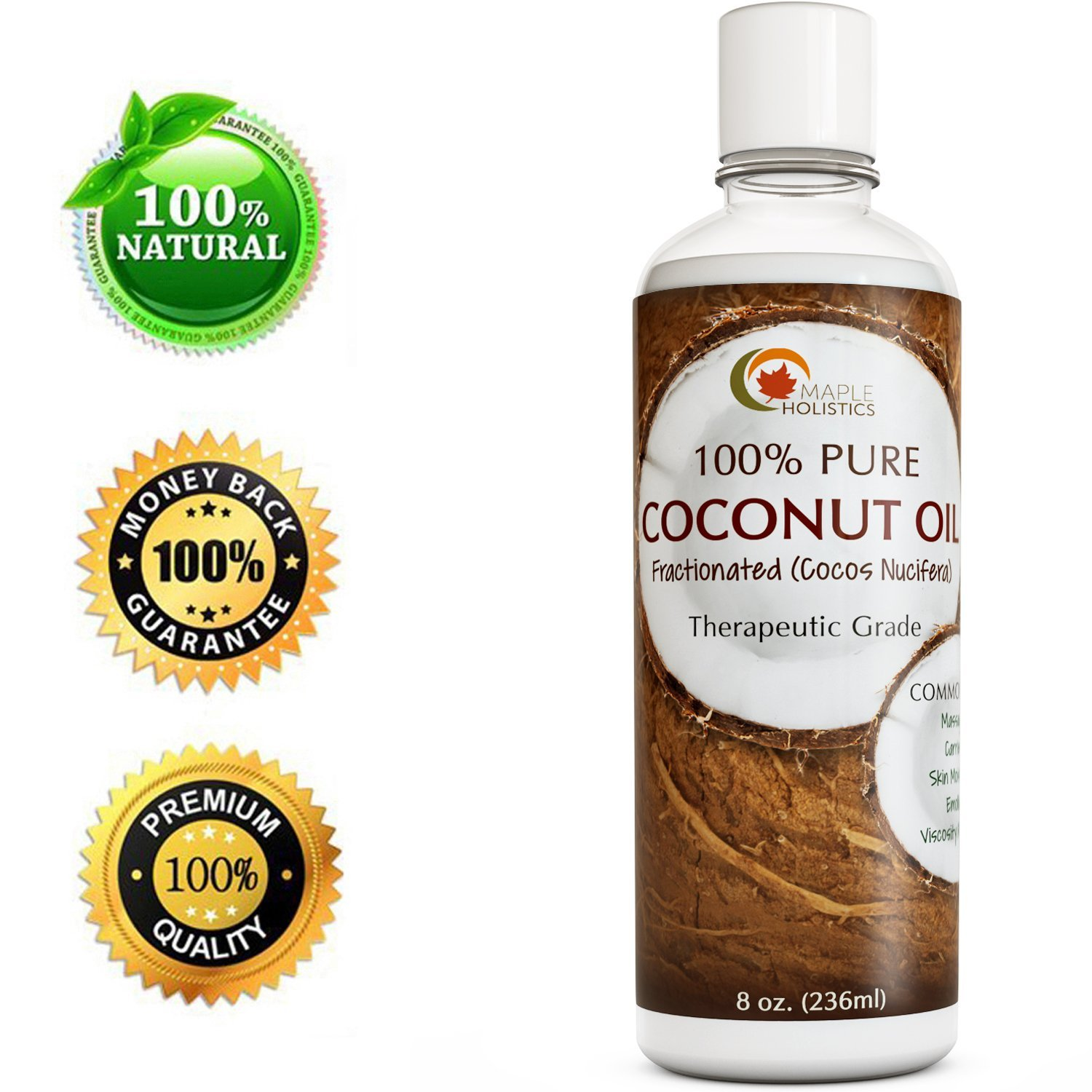 Maple Holistics 100% Pure Coconut Oil, Anti-Aging + Pregnancy, Natural Skin & Hair Care Product, 8oz