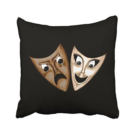 WinHome Abstract Vintage Fashion Tragedy Comedy Face Simple Black Polyester 18 x 18 Inch Square Throw Pillow Covers With Hidden Zipper Home Sofa Cushion Decorative Pillowcases