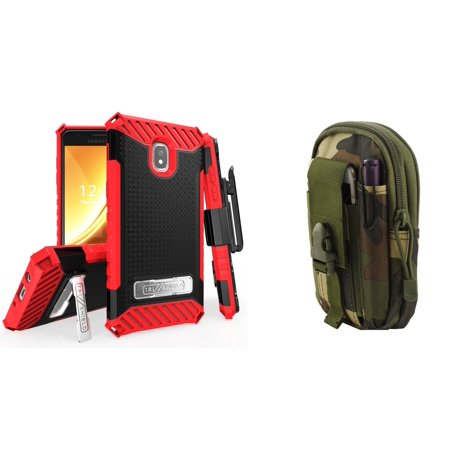 Tri Shield Military Grade Kickstand Holster Case (Black / Red) with Jungle Camo Tactical EDC MOLLE Waist Bag Holder Pouch and Atom Cloth for Samsung Galaxy Amp Prime 3 2018 (Cricket)